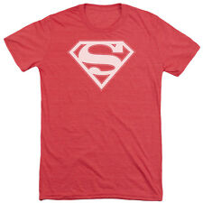 Superman Red & White Shield Mens Tri-Blend Short Sleeve Shirt RED