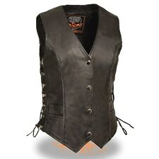 WOMENS MOTORCYCLE FRONT SNAP BRAIDED LEATHER VEST w/ SIDE LACES - SA92