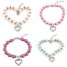 Pet Dog Plastic Beads Linked Heart Shaped Pendant Decor Stretchy Collar Necklace