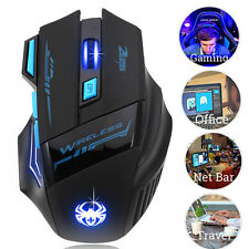 Adjustable 2400DPI LED Optical Wireless Gaming Mouse For Laptop PC Gamer Cool US