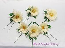 WEDDING FLOWERS  IVORY GERBERA + ROSES BUTTONHOLE GROOM  LADIES CORSAGE PACKAGE