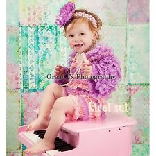 Baby Girls Light Pink Lavender Lace Petti Rompers Romper Straps Bow NB-3T