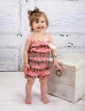 Baby Girls Light Pink Leopard Lace Petti Rompers Romper Straps Bow NB-3T RSO6Z1