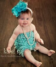 Baby Girls Aqua Blue Lace Ruffles Petti Rompers NB-3T