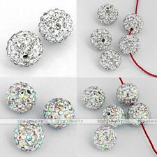 5x 10/12mm CZ Crystal Fimo Disco Ball Charm Bead Fit Hip Hop Bracelet DIY Gift