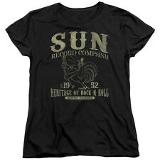 Sun Records Rockabilly Bird Womens Short Sleeve Shirt Black