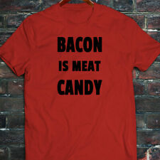 BACON IS MEAT CANDY BREAKFAST FUNNY HUMOR FOOD Mens Red T-Shirt