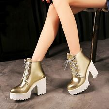 Womens Synthetic Leather Lace Up Platforms High Block Heels Ankle Boots Shoes