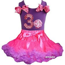 Hot Pink Purple Pettiskirt & 3rd Birthday Cupcake Tank Top Dress Outfit