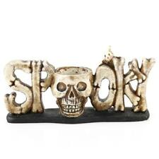 Resin Skull Head Tealight Candle Holder Tabletop Halloween Decor 2 Colors