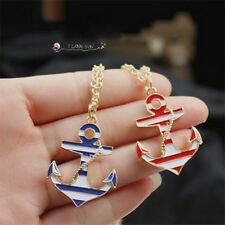 Women Fashion Blue Red Enamel Anchor Pendant Gold Chain Sweater Necklace Jewelry