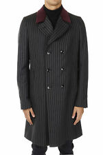 GUCCI New Men Striped Grey Cotton Coat Double Breasted Made in Italy