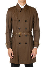 MARC JACOBS Man Green Mixed Cotton Trench Coat Made in Italy