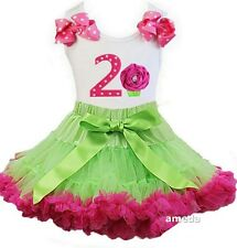 Lime Green Hot Pink Pettiskirt & 2nd Birthday Cupcake Tank Top Dress Outfit