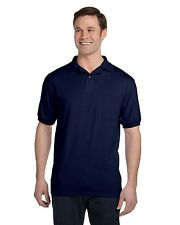 New Hanes Mens 50/50 Jersey Polo Shirt w/ Pocket Big Sizes Only