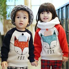 2-5Y Kids Baby Girls Boys Toddler Cute Fox Print Hoodies Casual Sweatshirt Tops