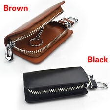 Multi-Brand Genuine Cow Leather Men Women Zip Car Key Bag Chain Ring Holder Case