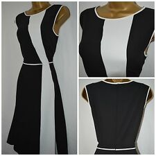 NEW MARKS & SPENCER M&S COLLECTION TEA DRESS BLACK IVORY OCCASION SIZE 10 - 22