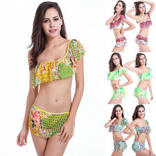 One Shoulder Ruffle Top Bikini Skirt Bottom Mesh Printing Swimwear Swimsuit Set