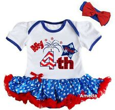 Baby First 4th of July Fireworks White Blue Star Bodysuit Tutu and Headband