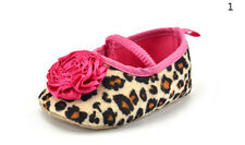 Kids Baby Girls Leopard Shoes Peony Flower Infant Toddler Crib Shoes BBC