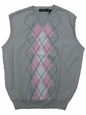 New Carnoustie Mens V Neck Sleeveles Golf Vest Large XL Light Grey Pink