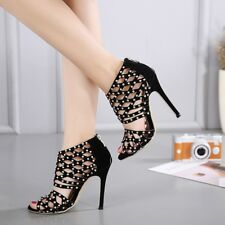 Rivet Black Hollow Out Sandal Boot Peep Toe Stiletto High Heel Sexy Womens Shoes