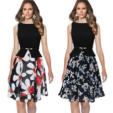 Elegant Women Floral Patchwork Peplum Chic Bodycon Slim Formal Office Work Dress