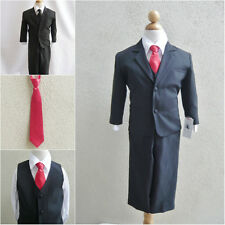 Black teen toddler boy formal suit with red long tie ring bearer prom party