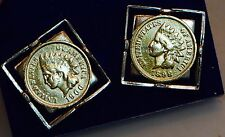 Gold Plated -  US Indian-Head Penny Coin Cufflinks - two tone