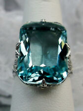 12ct *Aquamarine* Sterling Silver Deco/Edwardian Filigree Ring {Made To Order}