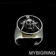 STERLING SILVER MENS MASONIC SKULL RING FREEMASON SQUARE AND COMPASSES ANY SIZE