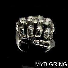 FIGHT CLUB STERLING SILVER MENS ARTWORK RING FIST WITH KNUCKLE DUSTER ANY SIZE