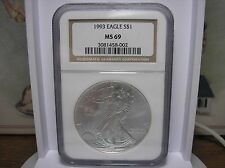 1993 Eagle S$1 NGC MS 69 1 oz .999 Fine Silver One Dollar Coin