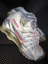 Nike Air Shox Womens Size 8 Workout Running Shoes Pink White Tennis Silver