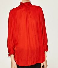 Zara Red Ruffled Frilled High Neck Collar Victorian Long Sleeve Blouse Top S