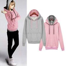 Women's Ladies Long Sleeve Hoodie Sweatshirt Jumper Sweater Hooded Pullover Coat