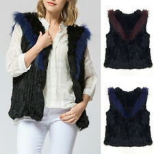 100% Real Genuine Rabbit Fur Weaving Vest Gilet Waistcoat Jacket Coat Hit Color