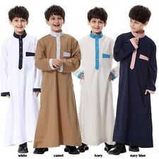 Trendy Boys Girls Saudi Thobe Thoub Robe Daffah Dishdasha Islamic Arabian Kaftan