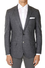 HUGO BOSS New Men Grey Single Breasted Virgin Wool Blend Jacket Blazer NWT