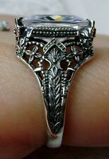 4ct White Gem Sterling Silver Victorian Etched Filigree Ring Size{Made To Order}