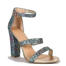 Bamboo Blue Pink Glitter Ombre Three Straps Open toe Chunky Heels Women's shoes
