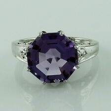 Amethyst Gemstone 925 Sterling Silver Right Hand Fancy 6.59 ctw Ring GSR1338
