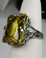 10ct Yellow Gem Solid Sterling Silver Leaf Art Deco Filigree Ring Size: Any/MTO