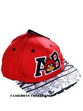 Boys ANGRY BIRDS Red Black White Embroidered Holiday Peaked Cap / Hat  7-13  yrs