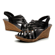 Womens Wedge Open Toe Platform Sandals Elastic Ribbon Straps Wedges Shoes Size