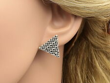 Only 1 punk black triangle wave line silver plated stud earrings fashion R29