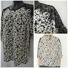 NEW EVANS PLUS SIZE TOP TUNIC BLOUSE BLACK IVORY BIRD FLORAL LACE SIZE 14 - 32