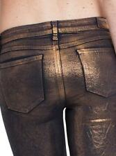 NEW WOMENS GUESS BRITTNEY SKINNY LEGGING COATED COPPER DISTRESS WASH JEANS 25 31