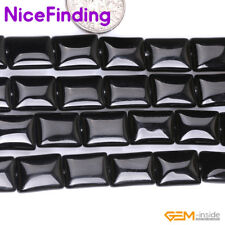 """Natural Rectangle Black Agate Onyx Gemstone Beads For Jewelry Making Strand 15"""""""